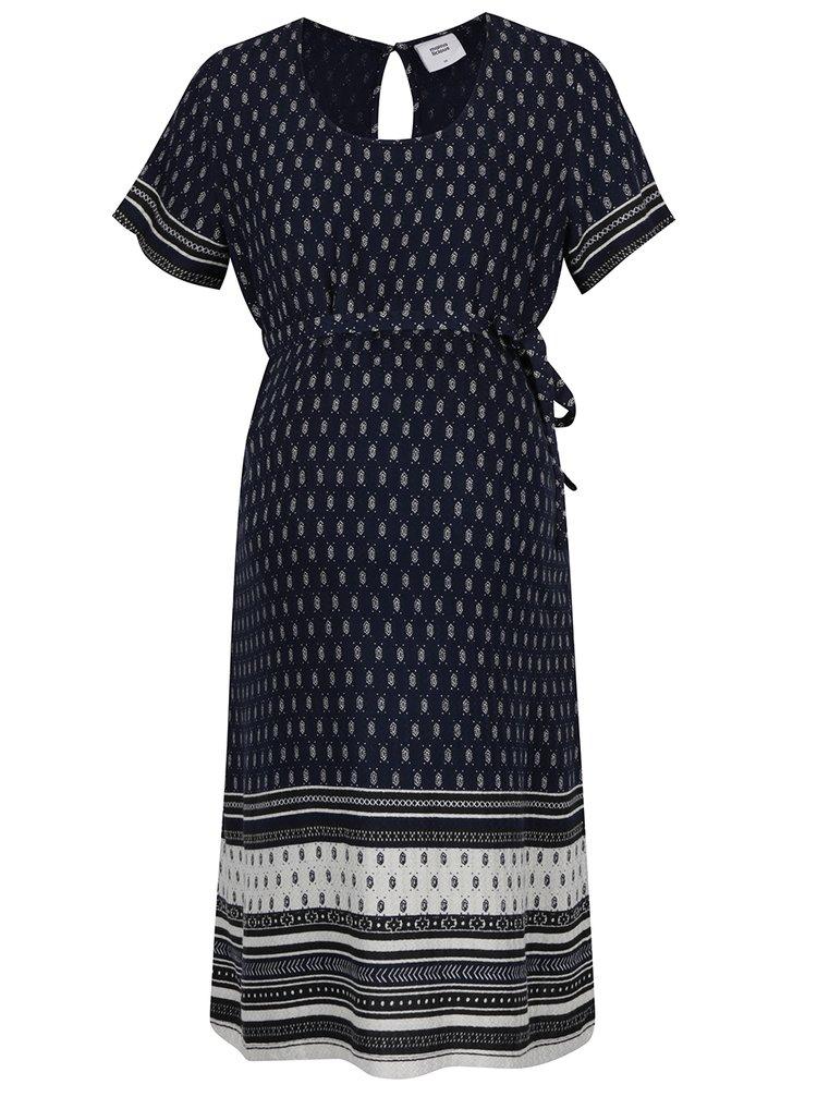 Tmavě modré vzorované těhotenské šaty Mama.licious Penna