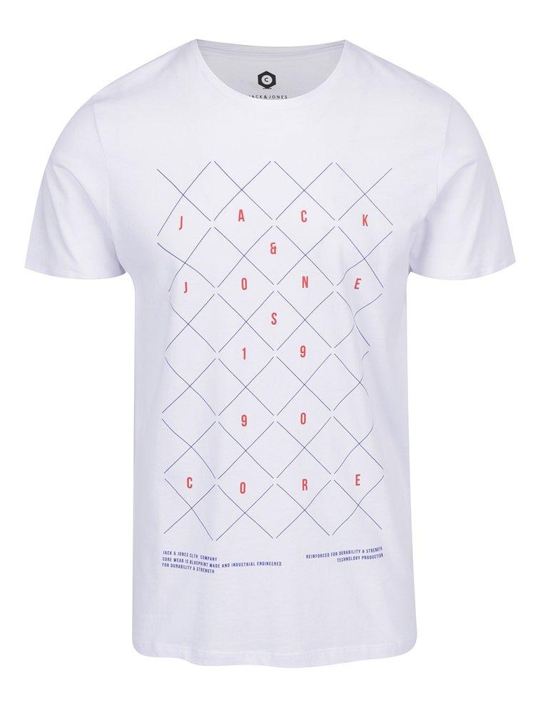 Bílé triko s potiskem Jack & Jones Concept