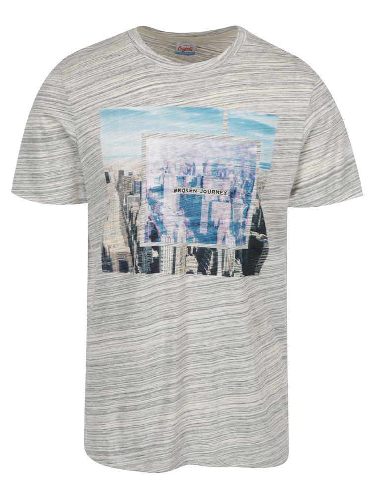 Šedé žíhané tričko s potiskem Jack & Jones Wired