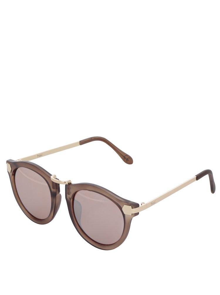 Hnědé dámské sluneční brýle s detaily ve zlaté barvě Nalí
