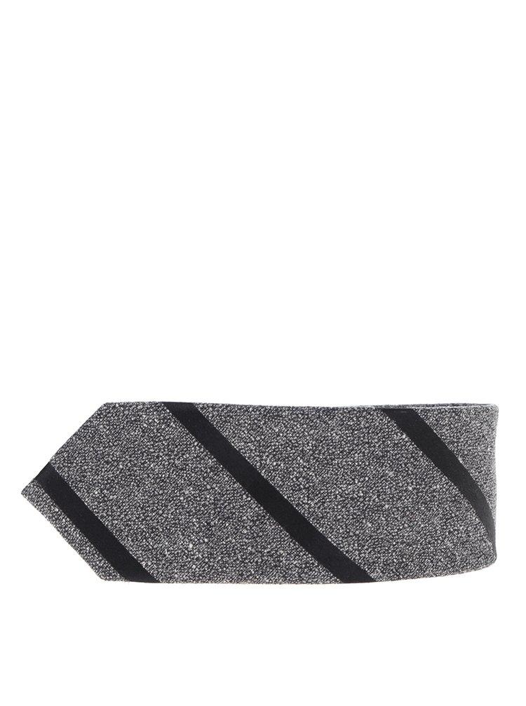 Šedá hedvábná pruhovaná kravata Jack & Jones Premium Costa