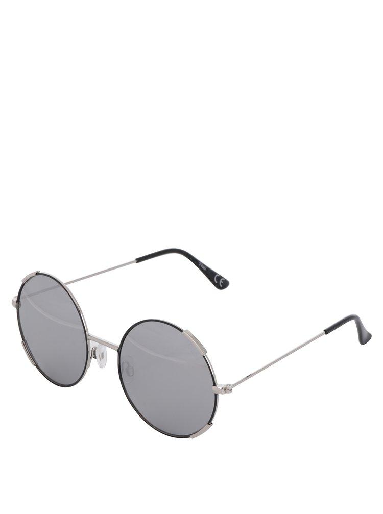 Ochelari de soare rotunzi negru&argintiu pentru femei Nalí