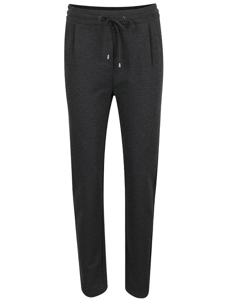 Tmavě šedé žíhané kalhoty VERO MODA Rory