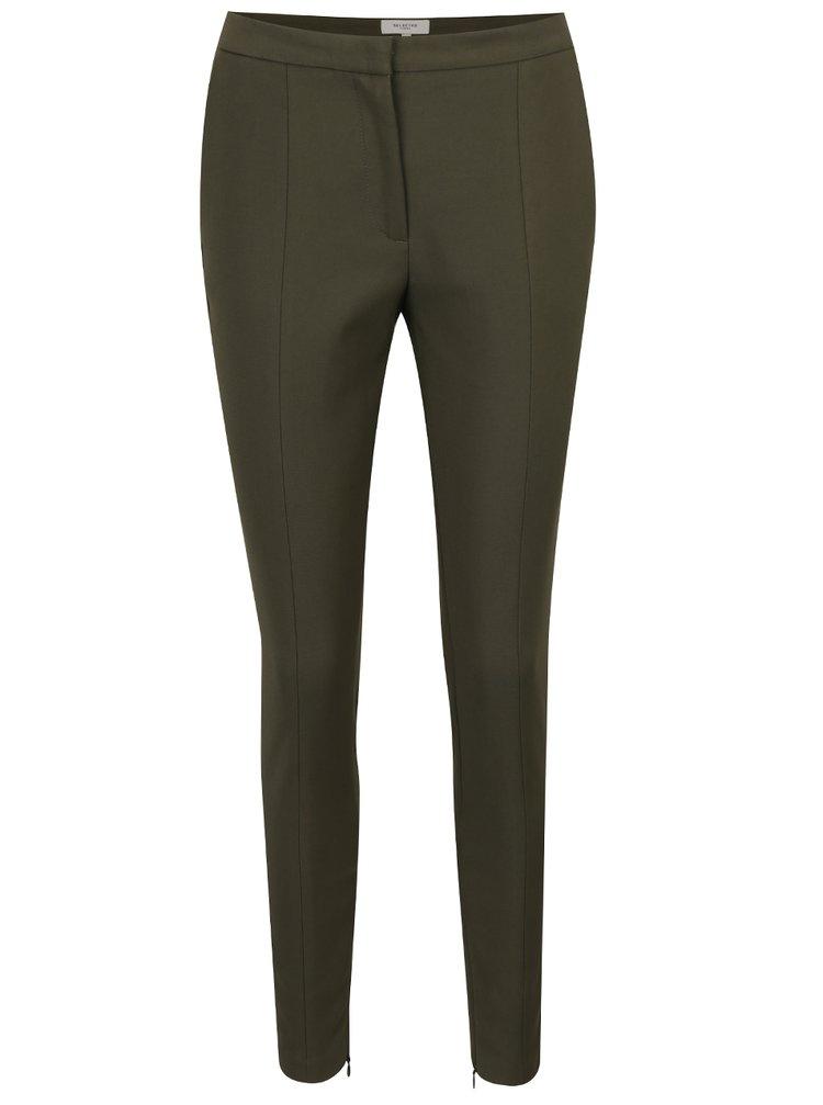 Khaki zkrácené kalhoty Selected Femme Muse
