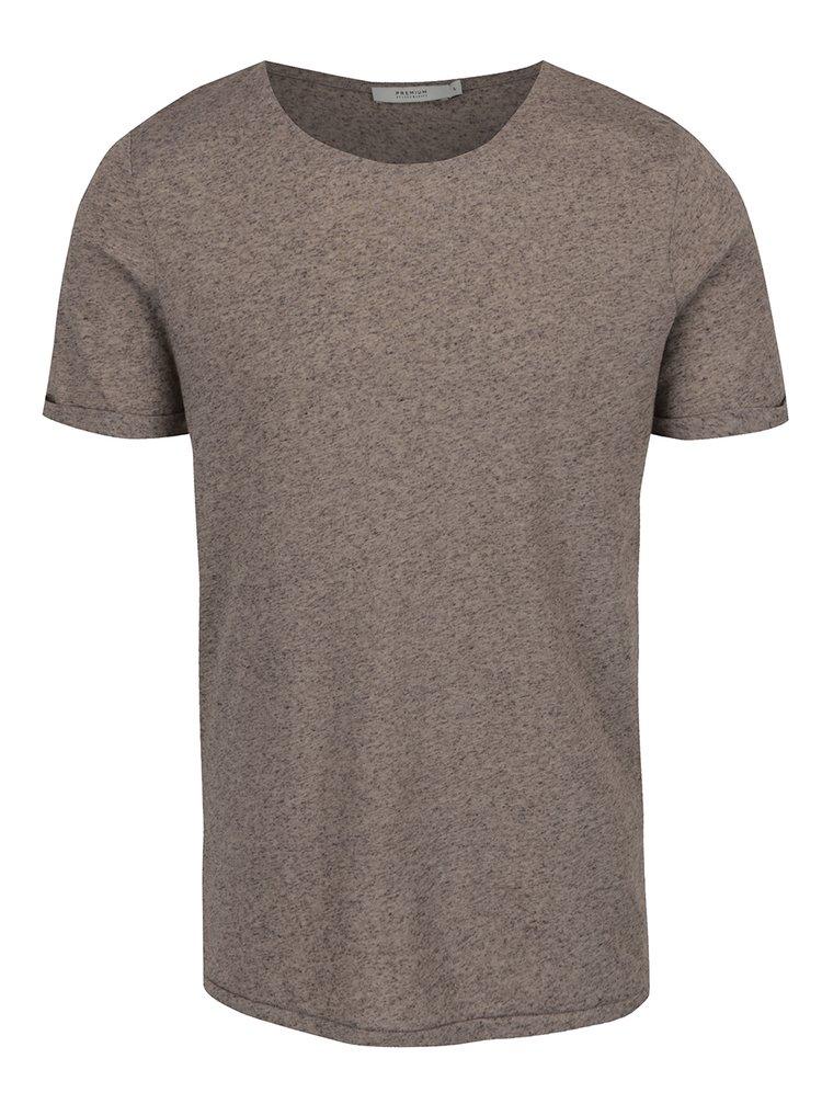 Šedé žíhané basic tričko s příměsí lnu Jack & Jones Randy