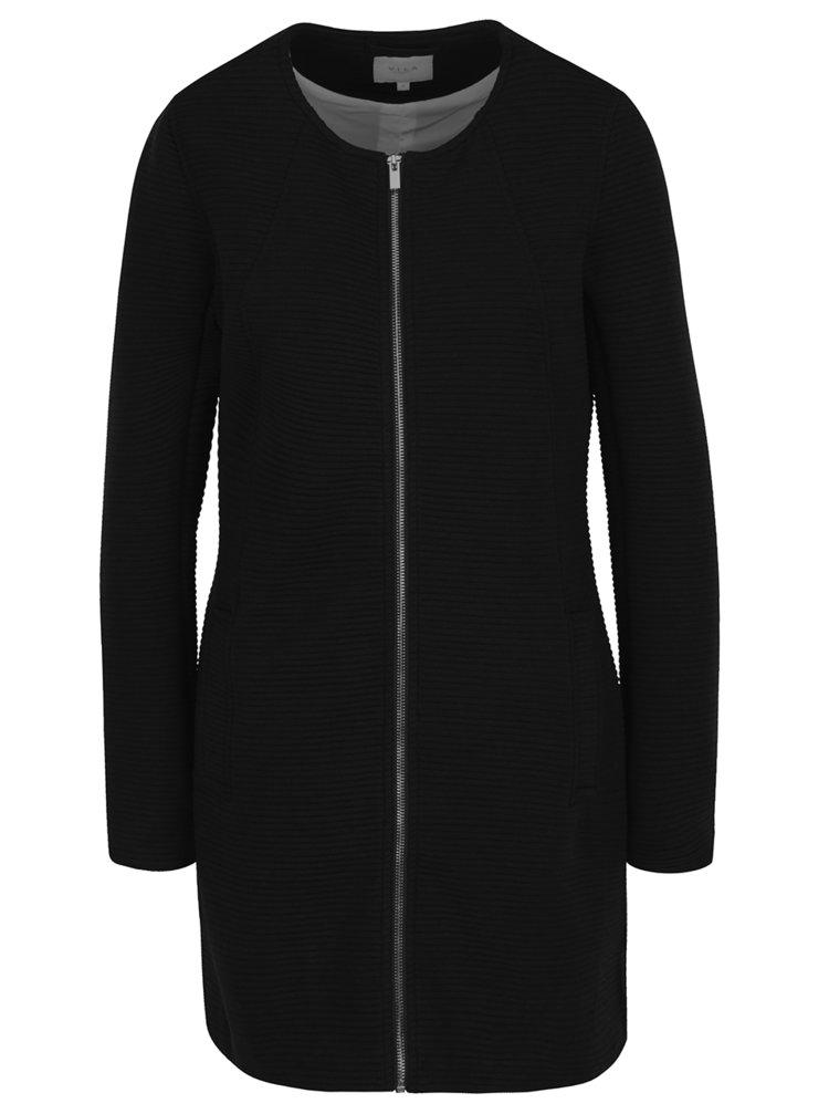 Černý žebrovaný lehký kabát VILA Heather