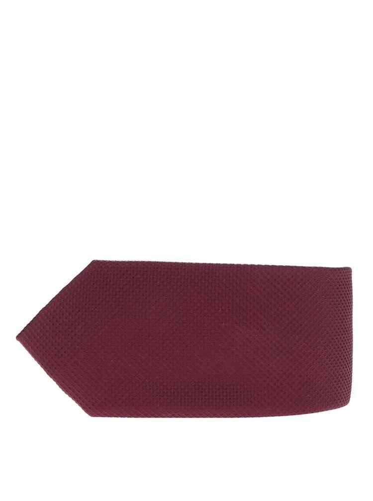 Vínová hedvábná kravata s drobným vzorem Jack & Jones Premium Colombia