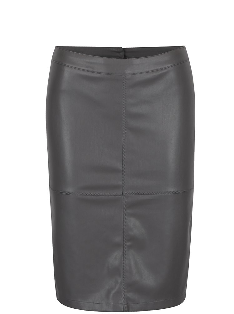 Šedá koženková pouzdrová sukně s rozparkem VILA Pen New