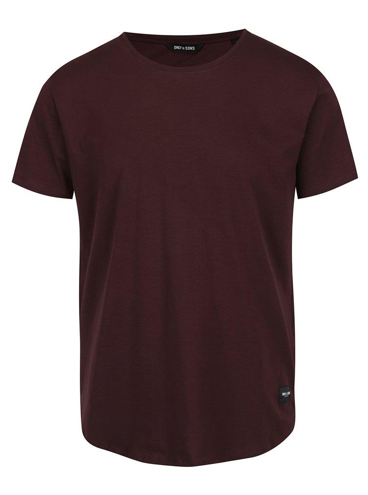 Tricou roșu burgundy Only & Sons Matt