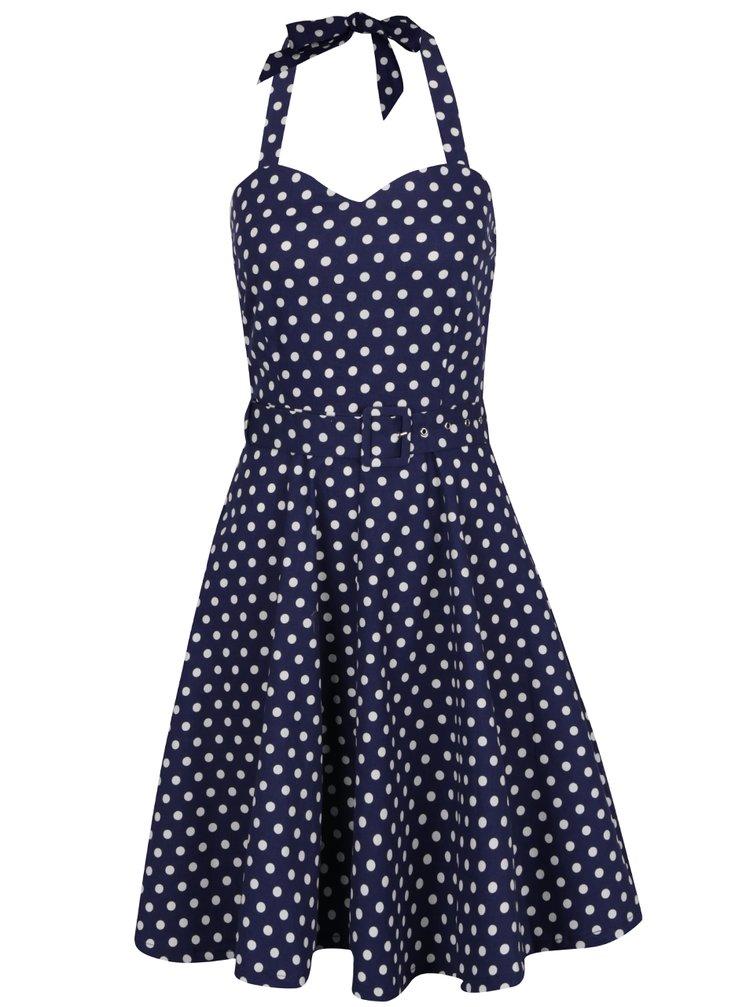 Tmavě modré puntíkované šaty s páskem Dolly & Dotty Penny