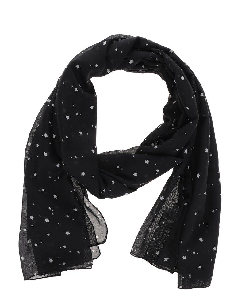 Eșarfă neagră cu print stele ONLY Beth