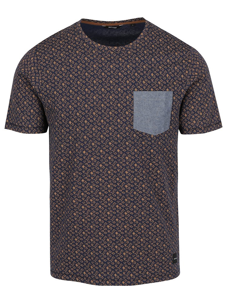 Tmavě modré vzorované triko s kapsou ONLY & SONS Arthur