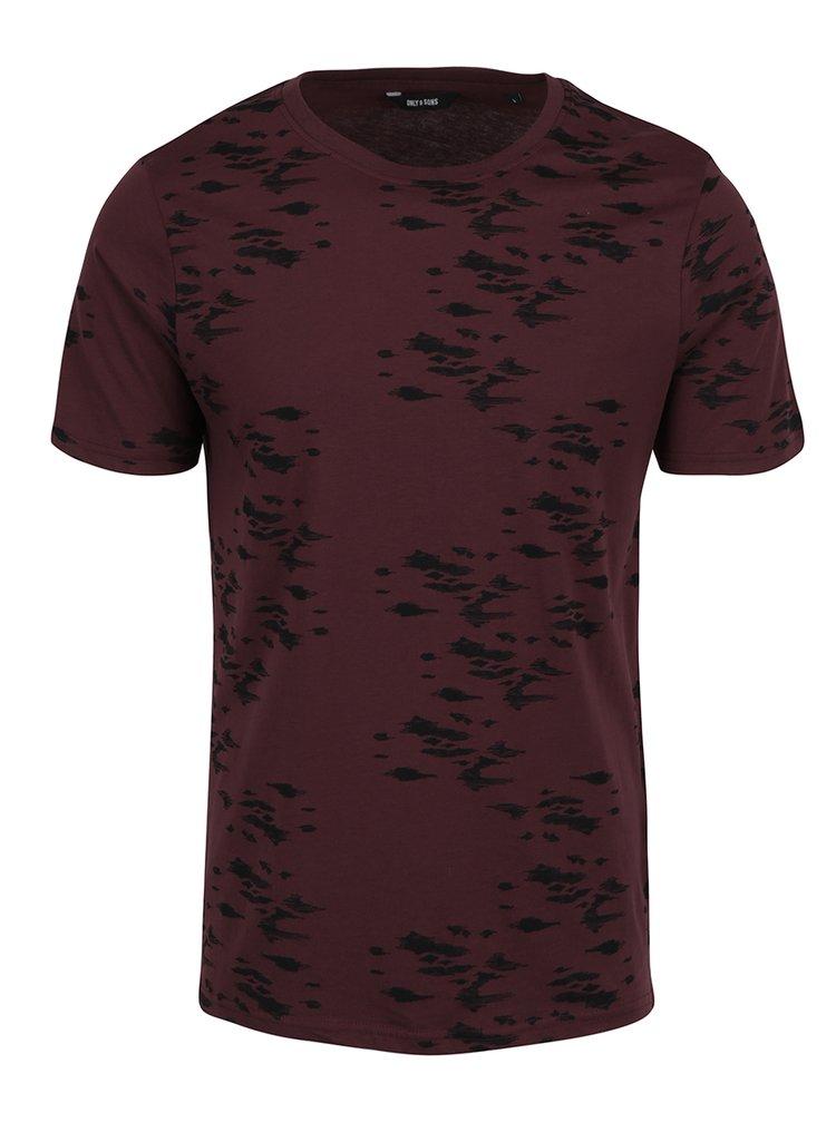 Vínové vzorované triko ONLY & SONS Hasse