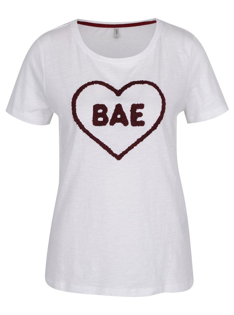 Bílé tričko s nášivkou ONLY Madison
