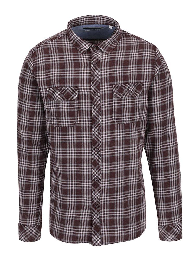 Vínová kostkovaná slim fit košile s dlouhým rukávem ONLY & SONS Tio