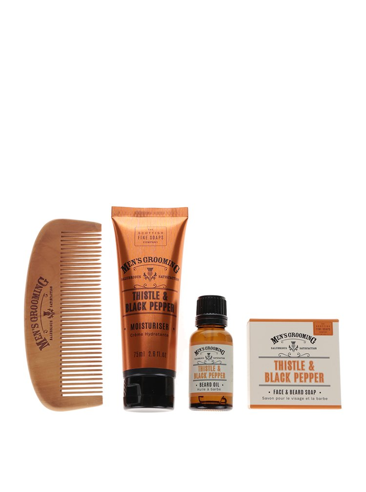 Štvordielna darčeková kozmetická súprava s vôňou čierneho korenia a pestreca Fizz The Scottish Fine Soaps Company
