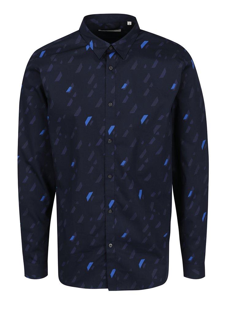 Tmavě modrá vzorovaná košile Jack & Jones Premium Geometric Rain
