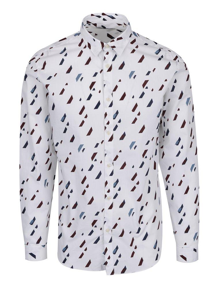 Bílá vzorovaná slim fit košile Jack & Jones Premium Geometric Rain