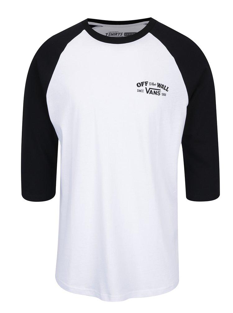 Tricou alb cu mâneci negre Vans