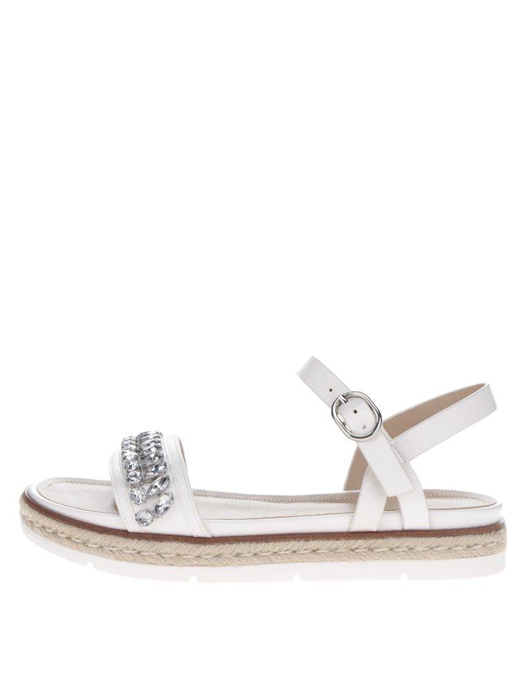 Sandale albe ALDP Kelvyna cu pietre decorative