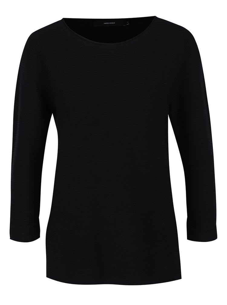 Čierny rebrovaný sveter VERO MODA Anna