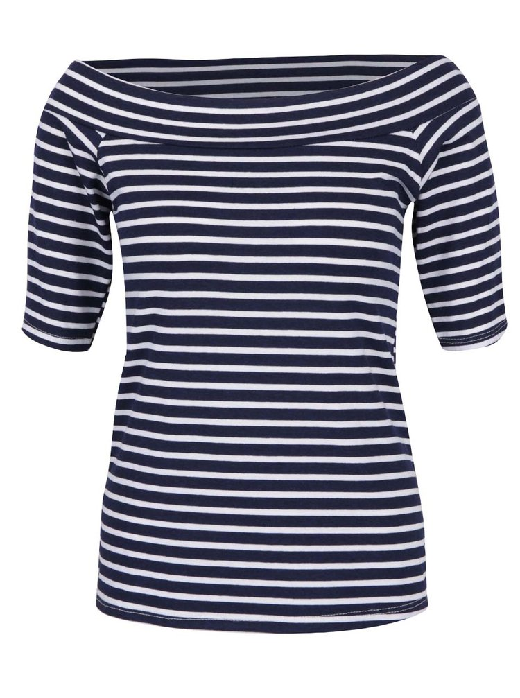 Bílo-modré pruhované tričko s lodičkovým výstřihem ZOOT