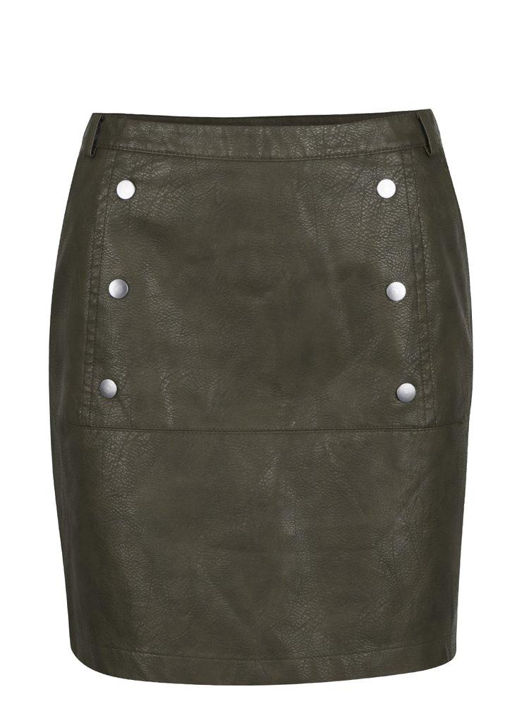 Zelená koženková sukně VERO MODA Cameo