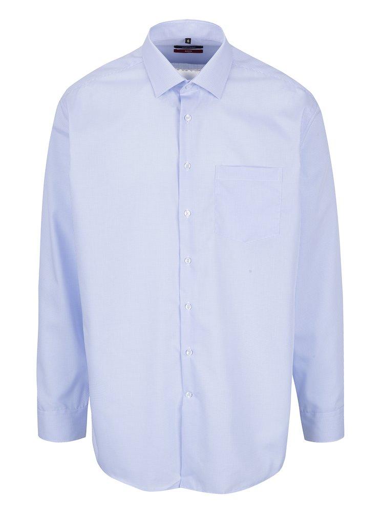 Světle modrá kostkovaná modern fit košile Seidensticker