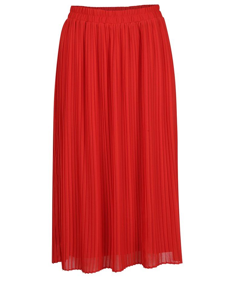Červená plisovaná midi sukně VERO MODA Pleta