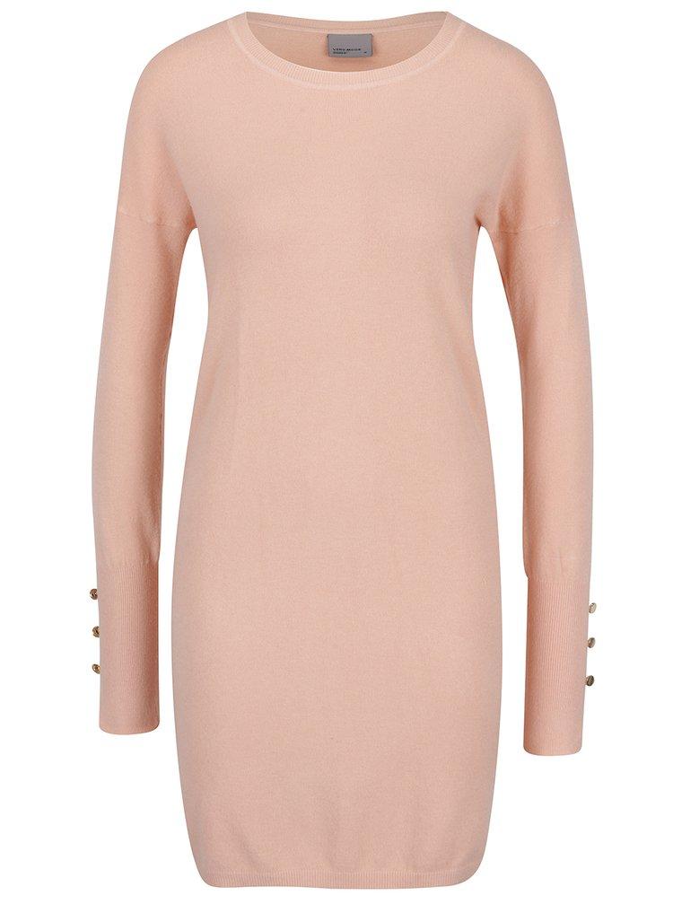 Světle růžové svetrové šaty VERO MODA Happy Aura