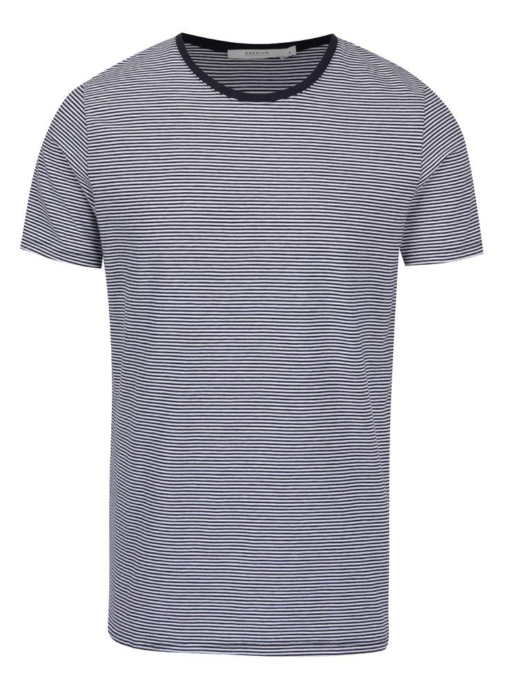 Bielo-modré pruhované tričko Jack & Jones Premium Pima
