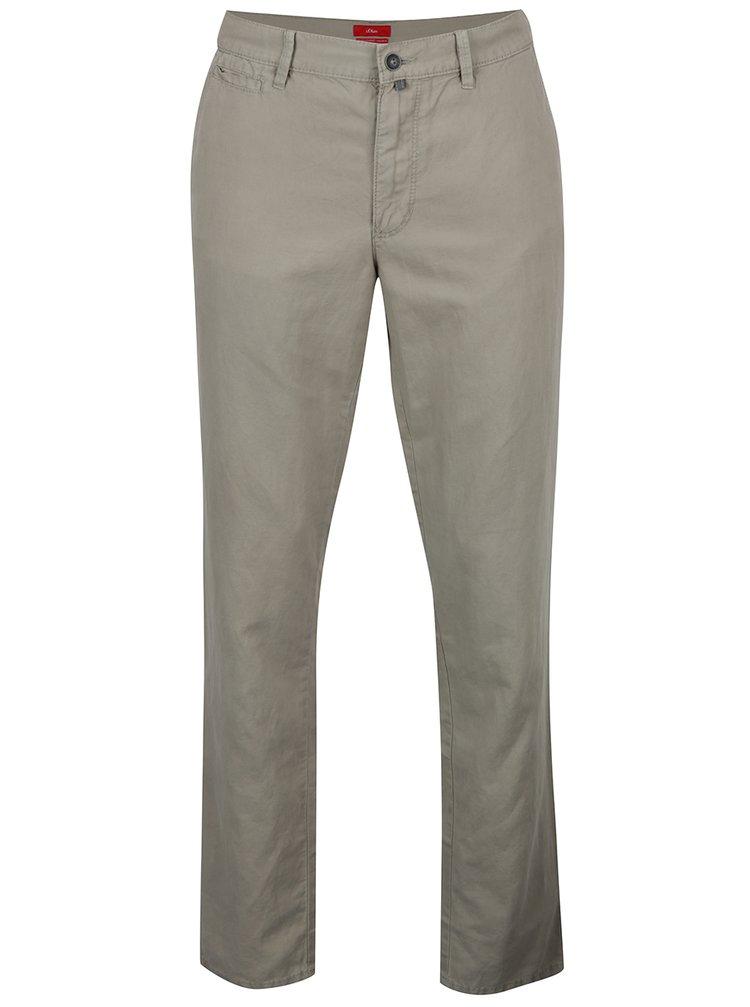 Světle zelená pánské lněné regular fit chino kalhoty s.Oliver