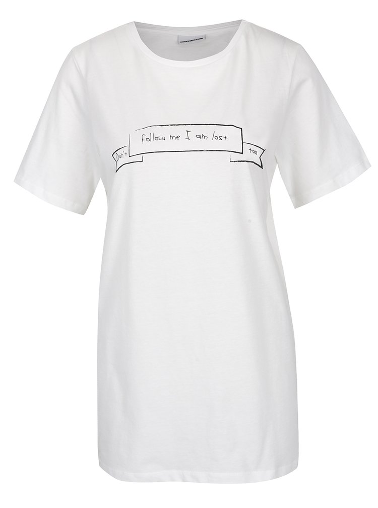 Tricou alb cu print text Noisy May Frank