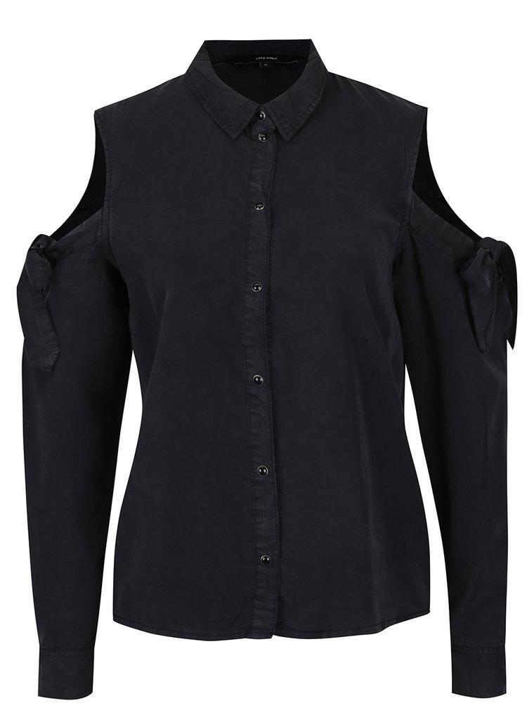 Černá košile s průstřihy na ramenou VERO MODA Ece