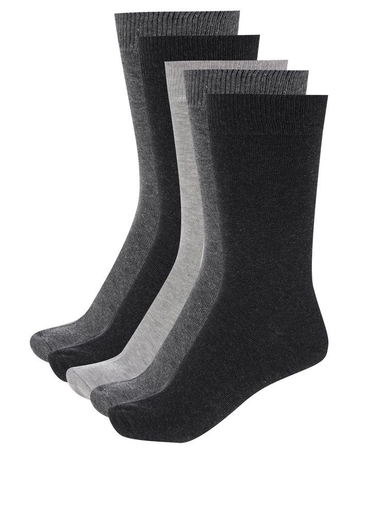 Sada pěti párů šedých pánských ponožek M&Co