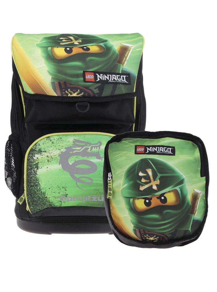 Černo-zelená klučičí aktovka s batohem 2v1 LEGO Wear Ninjago Lloyd Maxi 28 l