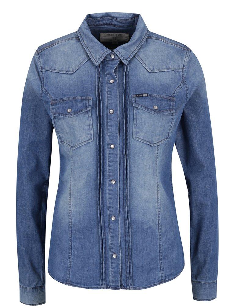 Cămașă albastră pentru femei din denim Garcia Jeans