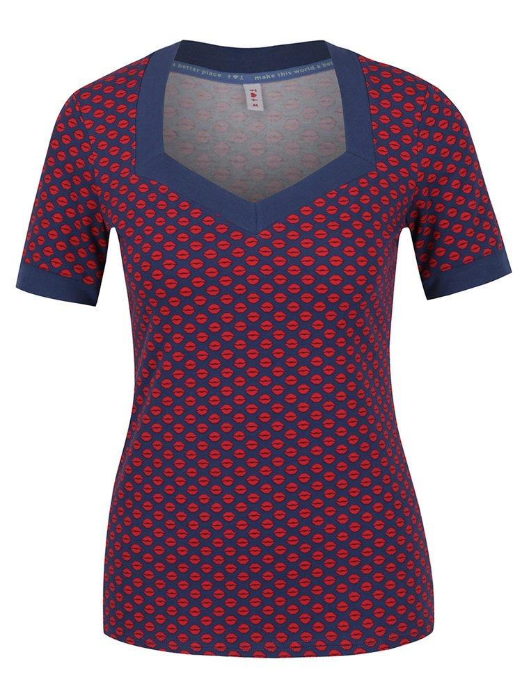 Tricou cu print grafic roșu cu albastru  Blutsgeschwister