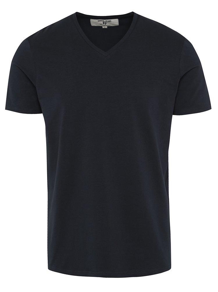 Tmavě modré pánské basic tričko s véčkovým výstřihem Garcia Jeans Remco