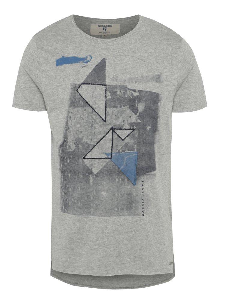 Šedé pánské tričko s potiskem Garcia Jeans