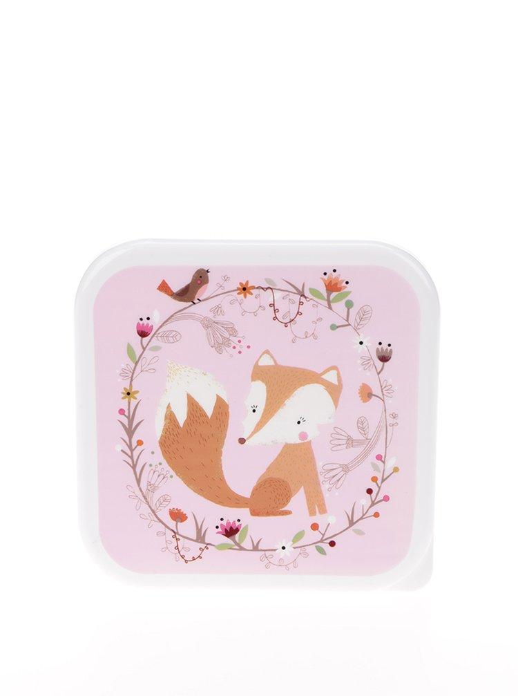 Bílo-růžový box na jídlo s motivem lišky Sass & Belle Square Woodland