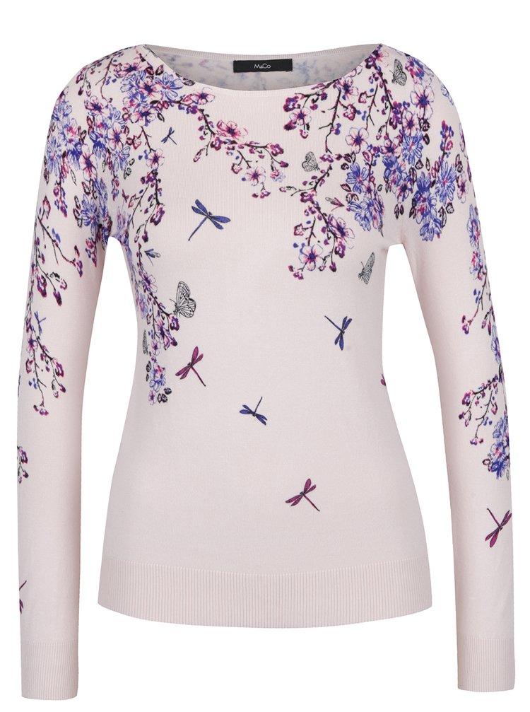 Pulover roz pal cu imprimeu floral - M&Co