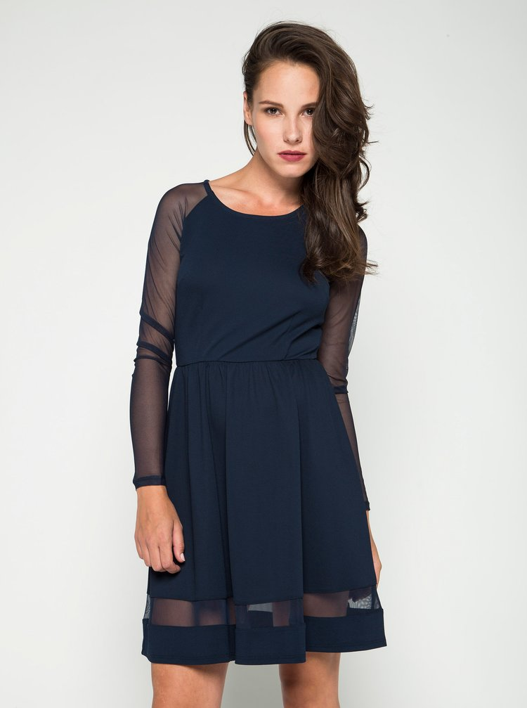 Tmavě modré šaty s průsvitnými rukávy ONLY New Mona