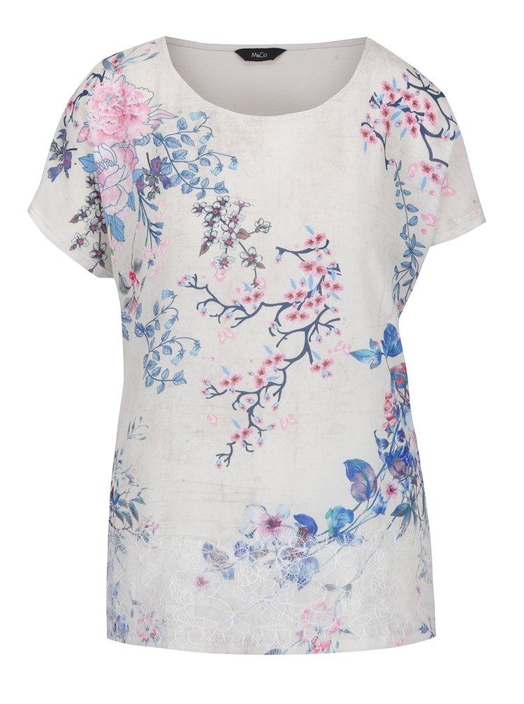 Krémová květovaná halenka s krajkovým detailem M&Co