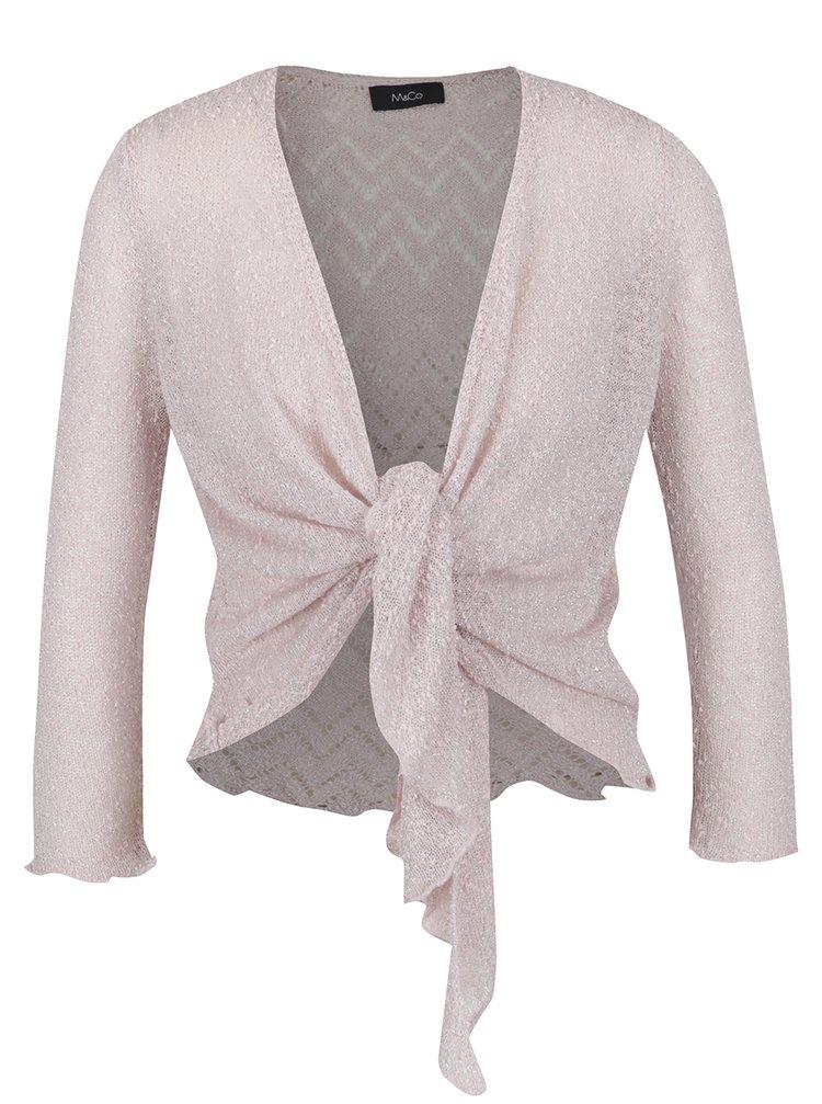 Bolero roz pal cu detalii argintii și decupaje  - M&Co