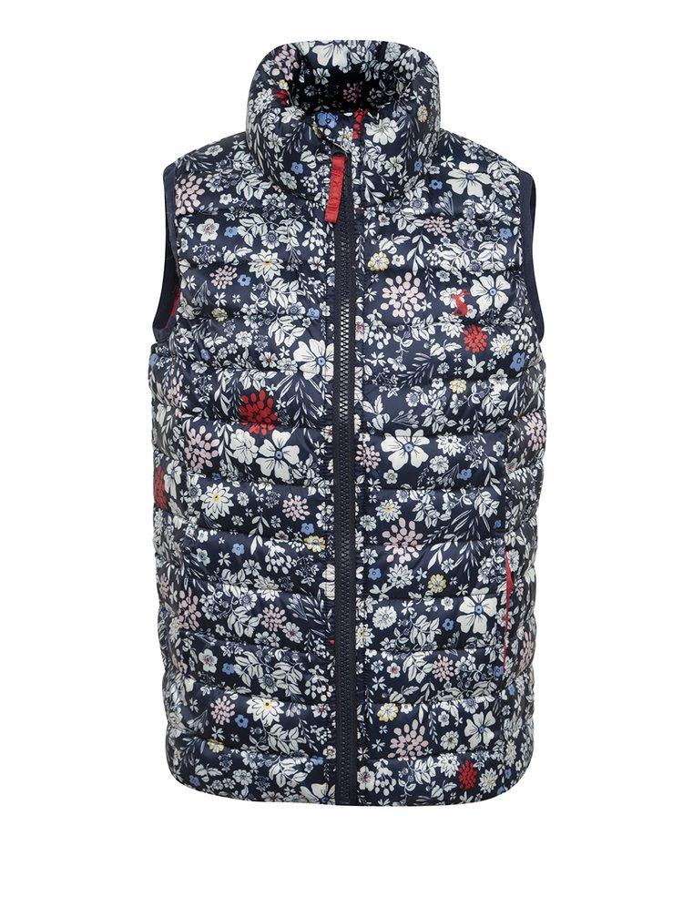 Vestă bleumarin matlasată cu print floral pentru fete Tom Joule