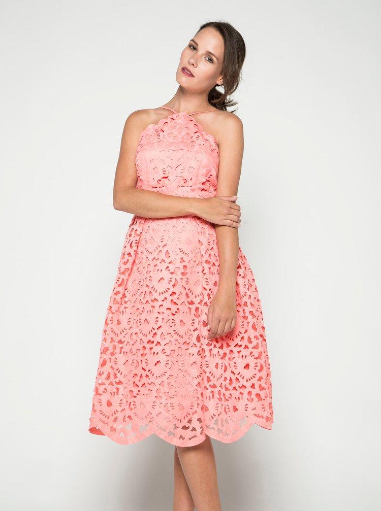 Růžové krajkové šaty Chi Chi London