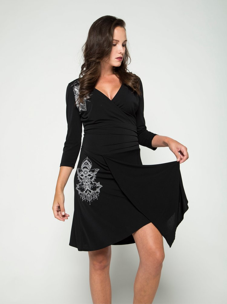 Čierne šaty s prekladaným výstrihom  Desigual Alison