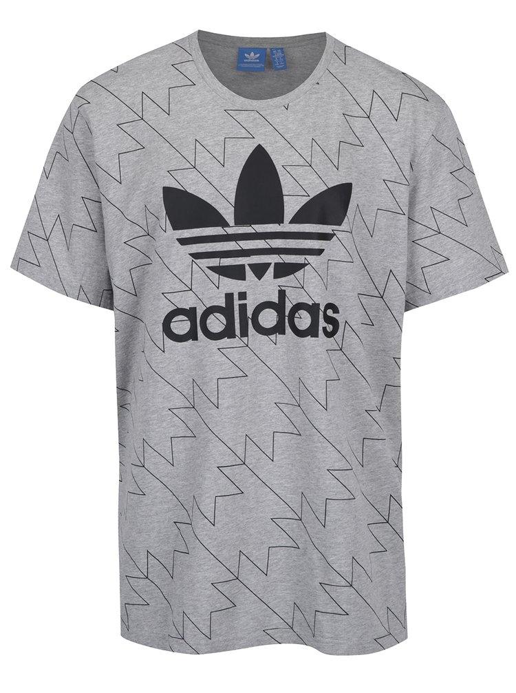 Tricou gri cu print logo adidas Originals