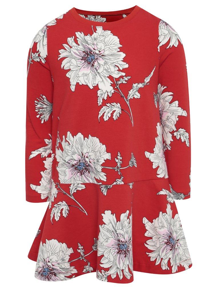 Rochie roșie cu print floral și pliseuri Tom Joule